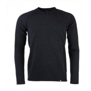 NORTHFINDER pánske tričko merino dlhý rukáv DONALD – Black melange
