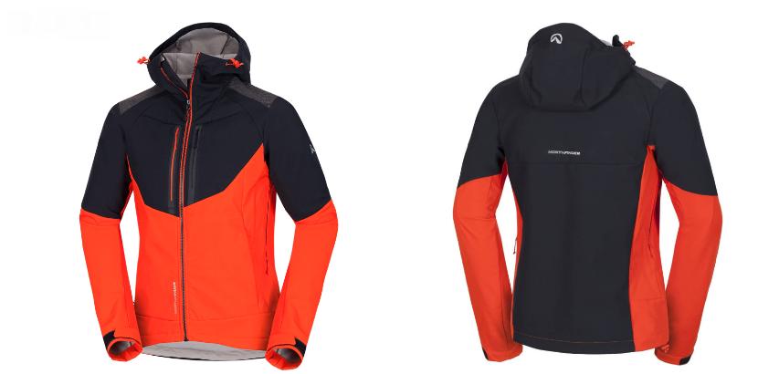 Northfinder pánska bunda stretch softshell all-weather 3L BROSDY - BLACK/TOMATO 2